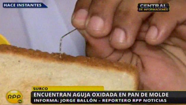Así se halló el alfiler oxidado en pan de molde. (RPP TV)