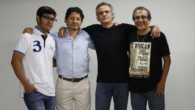 IRREVERENTES. El cuarteto que hace el suplemento de humor político de Perú21. Ya son nueve años de genial creación. (Nancy Dueñas)