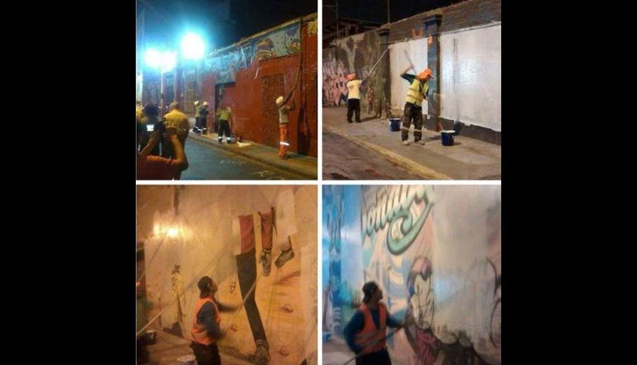 El borrado de los murales inició el viernes a las 10 de la noche. (@pili12)