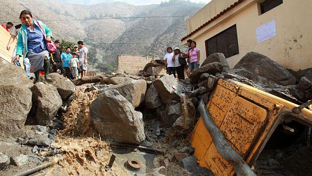 Huaicos no han afectado solo Chosica, como se muestra en la foto. También Santa Eulalia se ha visto perjudicada. (Andina)