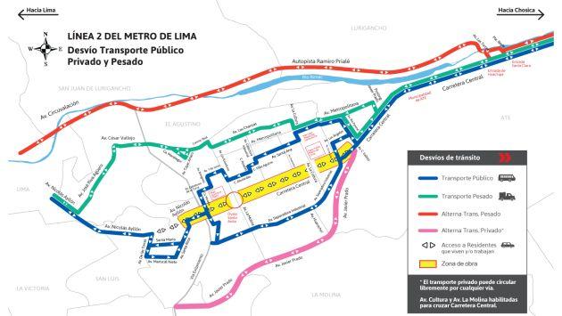 Conoce el plan de desvíos por las obras de la Línea 2 del Metro de Lima. (MTC)
