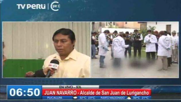 Juan Navarro, alcalde de San Juan de Lurigancho, pidió que Fuerzas Armadas resguarden el distrito.(Captura de TV)