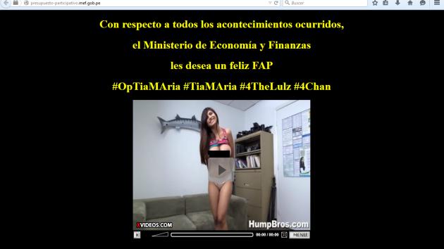Anonymus colocó una imagen de la actriz porno Mia Khalifa en el portal del Ministerio de Economía y Finanzas. (Facebook Anonymus Perú)