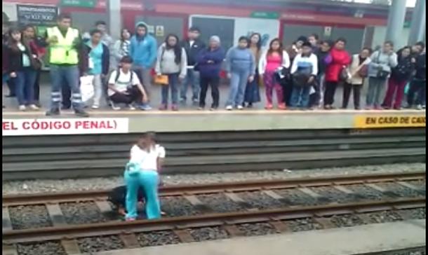 El video de una mujer rescató a un perro de la rieles del Metro de Lima va circulando en Facebook. (Captura en Facebook)