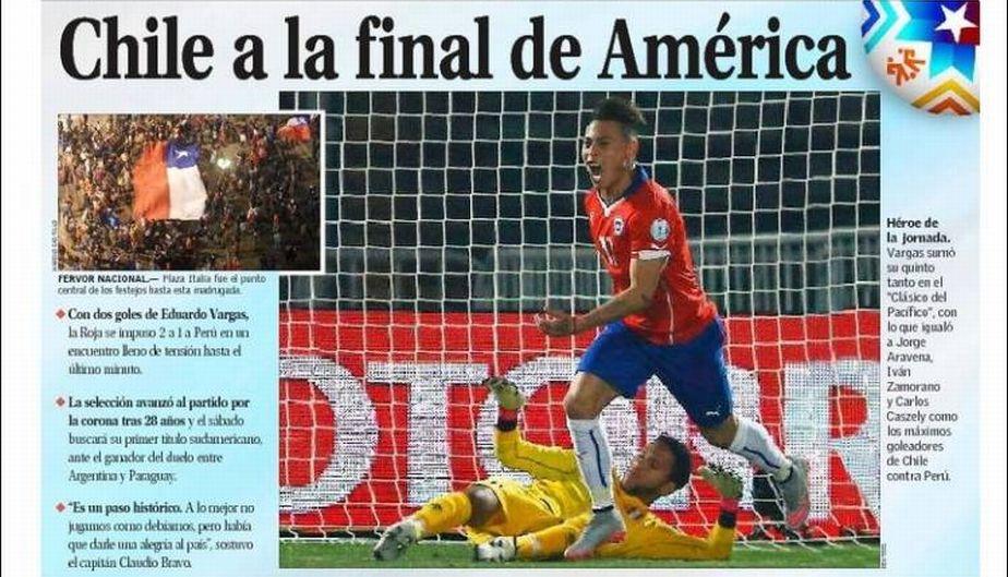 Portada El Mercurio, Chile a la final de América.