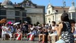 Peruanos realizaron flashmob con danzas típicas en Roma, Italia. (Andina)