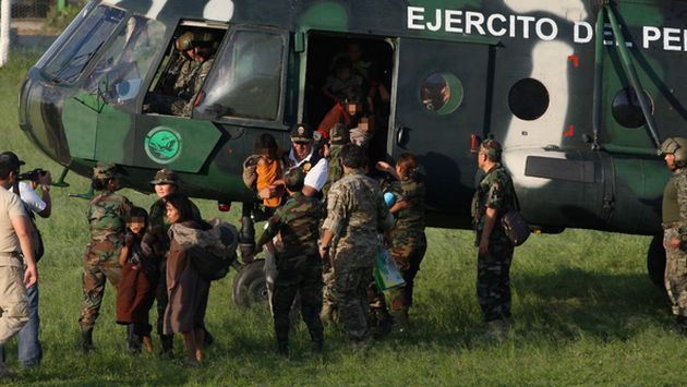 Rescatados serán trasladados a la base militar y policial de Mazamari, en Junín. (Difusión)