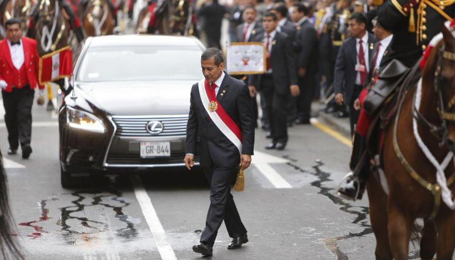 Ollanta Humala partió hacia el Congreso de la República para dar su último mensaje de 28 de julio. (Luis Gonzales)