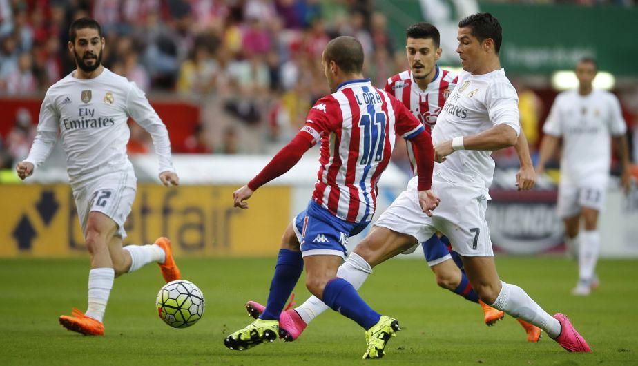 Real Madrid empató 0-0 en su visita al Sporting de Gijón por la Liga española. (AFP)