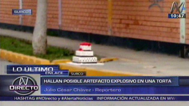 Una maqueta de torta alarmó a vecinos de Surco esta mañana. (Captura de TV)