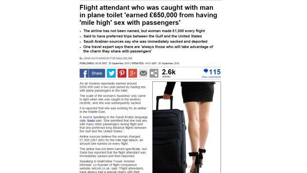 Una azafata fue despedida por tener sexo con pasajeros… No, en realidad no. (ALAMY/www.dailymail.co.uk)