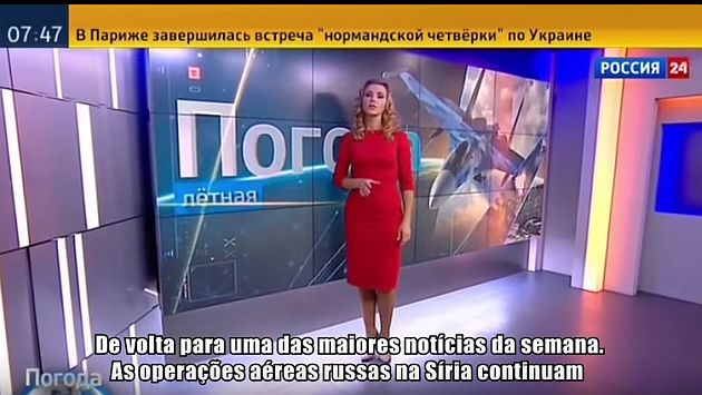 Rusia: Esta presentadora dijo que hacía buen tiempo para bombardear Siria. (Captura de YouTube)
