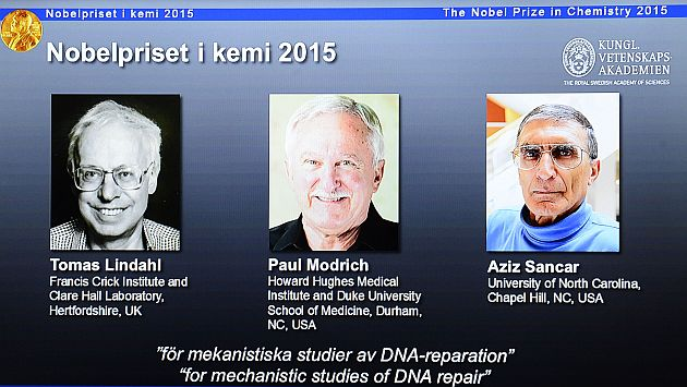 Premio Nobel de Química para investigadores que explicaron mecanismos de reparación del ADN. (AFP)