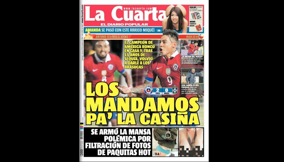 Así celebró la prensa chilena el triunfo ante Brasil en Eliminatorias