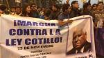 Ley Cotillo: Universitarios marcharon para pedir archivamiento de proyecto de ley. (@aaronsalomong)