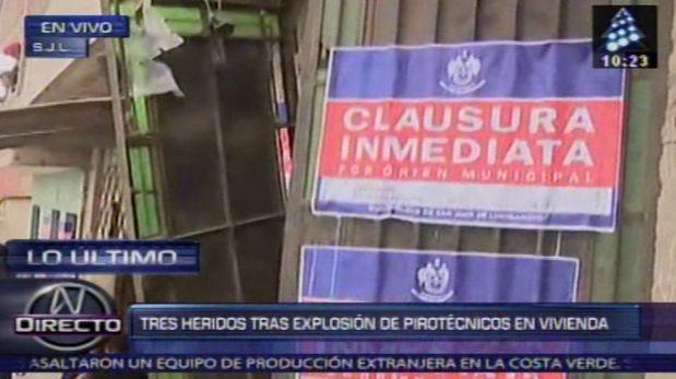 San Juan de Lurigancho: Murió una de las víctimas de la explosión en taller clandestino de pirotécnicos. (Captura de TV)