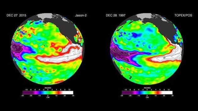 Las últimas imágenes captadas por los satélites de la NASA encuentran similitudes entre el actual fenómeno y el de 1997-1998. (NASA)