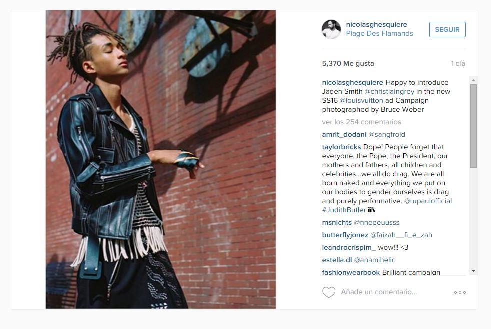 c5819c1b0 La moda está apostando por la diversidad y es cada vez más notorio. El  director creativo de la firma anunció a través de Instagram que Jaden Smith  será ...