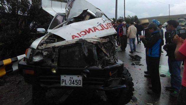 Cinco muertos dejó choque frontal entre ambulancia y camión en Cajamarca. (Foto: Continente Cajamarca)