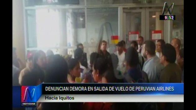 Pasajeros se quedaron varados en aeropuerto Jorge Chávez por retraso de vuelo a Iquitos. (Captura de video)