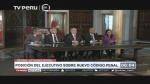 Cuatro ministros y el jefe de la PCM dieron conferencia de prensa. (TV Perú)