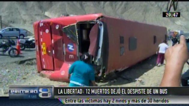 La Libertad: 12 muertos y al menos 30 heridos dejó la volcadura de un bus interprovincial. (Canal N)