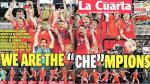 "Chile Campeón: El diario popular La Cuarta tituló así: 'We are the ""che""mpions. (La Cuarta)"