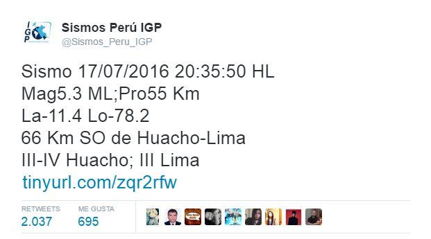 Sismo en Lima