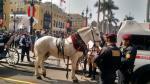 Este caballo se alteró y embistió a 6 personas en la Plaza de Armas de Lima. (César Takeuchi)
