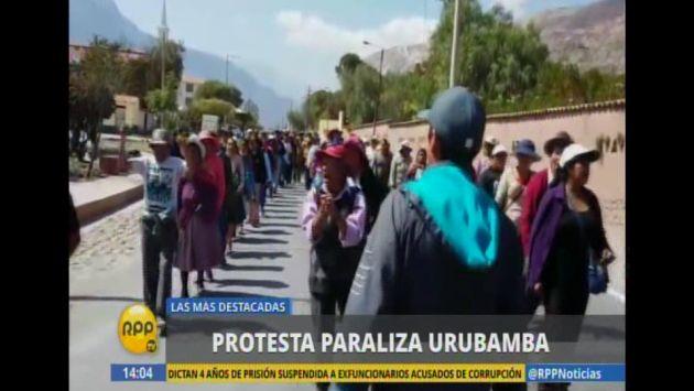 Pobladores bloquearon vías hacia Machu Picchu durante primer día de paro en Urubamba. (Captura de video)