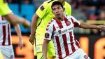 Edison Flores marcó su primer gol en la victoria de Aalborg 2-1 sobre Aarhus. (USI)