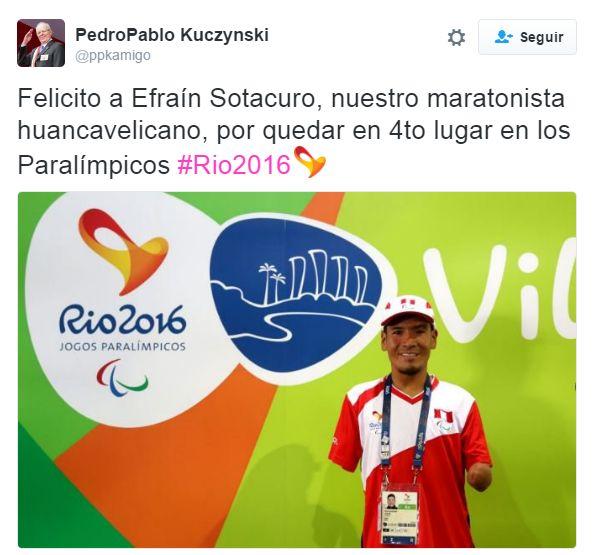 Juegos Paralímpicos: PPK felicitó a Efraín Sotacuro por lograr el cuarto puesto en maratón