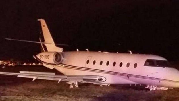El lujoso avión de Cristiano Ronaldo luego del accidente.