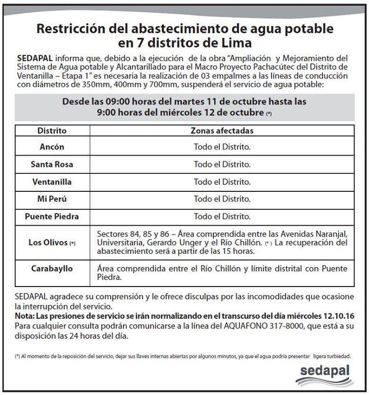 Sedapal: No habrá agua en 7 distritos este martes y miércoles