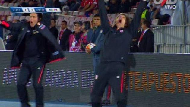 Ricardo Gareca tuvo una efusiva celebración por el tanto de la selección peruana. (Captura)