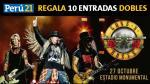 Conoce a los ganadores de las 10 entradas dobles para el concierto de Guns & Roses en Lima - Noticias de doble identidad