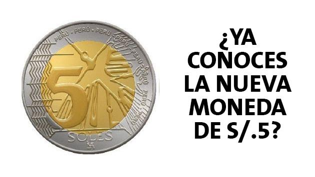 BCRP pone en circulación nueva moneda de 5 soles.