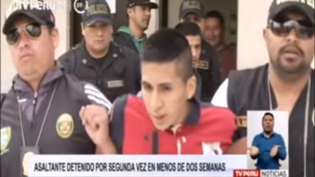 Delincuente fue recapturado luego de obtener su libertad gracias a disposición de un fiscal. (Captura)