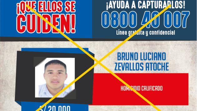 Bruno Luciani Zevallos Atoche asesinó a una menor de 5 años cuando disparó hacia el carro del padre de la niña. (Mininter)
