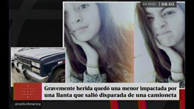 Adolescente quedó en estado de coma tras ser golpeada por llanta que se desprendió de vehículo. (Captura de video)