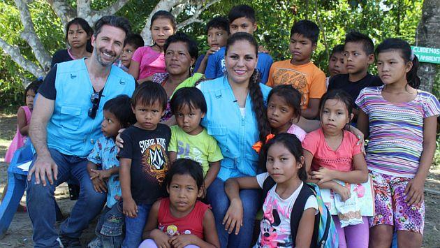 Dina Paucar y Marco Zunino visitaron la Amazonía como embajadores de Unicef. (@UNICEFperu)
