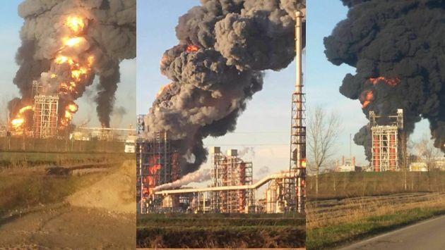 Una explosión provoca un gran incendio en una refinería petrolera de Italia. (@CPCPrpAl)