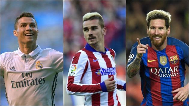 Lionel Messi, Cristiano Ronaldo y Antoine  Griezmann pelearán mejor jugador del 2016.