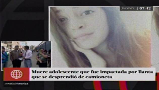 Murió adolescente que fue impactada por llanta que se desprendió de camioneta. (América)