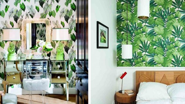 Vista el muro que da a la cabecera con papel tapiz o vinil con motivos de árboles, bosques o ramas. (Decoora)
