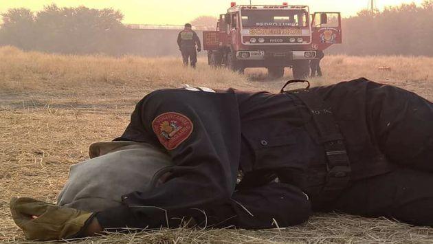 ¿Por qué se volvió viral esta foto de una mujer bombera argentina durmiendo sobre el pasto? (Luciana Rizzo)