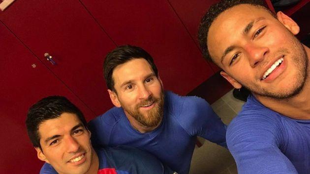 Lionel Messi, Luis Suárez y Neymar celebraron clasificación del Barcelona con esta foto. (Neymar)