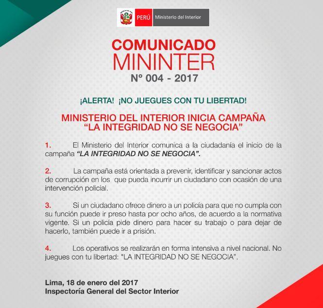 Ministerio del interior inici campa a 39 la integridad no for Ministerio del interior comisarias