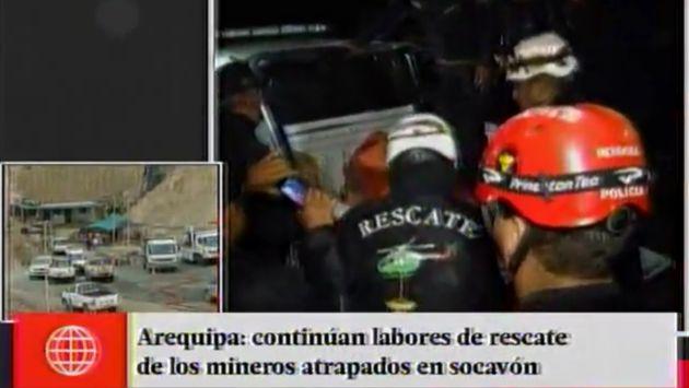 Personal de la minera Buenaventura rescataron el cuerpo de uno de los mineros. (Captura de TV)