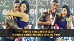 Xoana Gonzáles también se mostró feliz por el logro de su pareja y se refirió al Perú con gratitud.